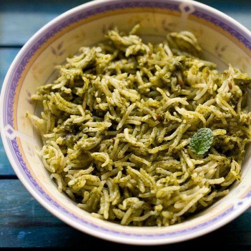 palak rice recipe, spinach rice recipe, palak pulao recipe