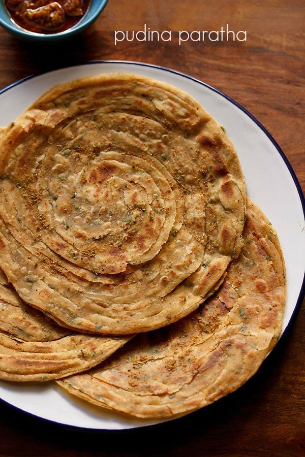pudina paratha recipe, how to make mint paratha recipe restaurant style