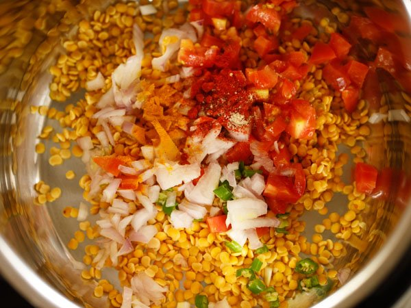 ground spice powders and asafoetida (hing) added to instant pot