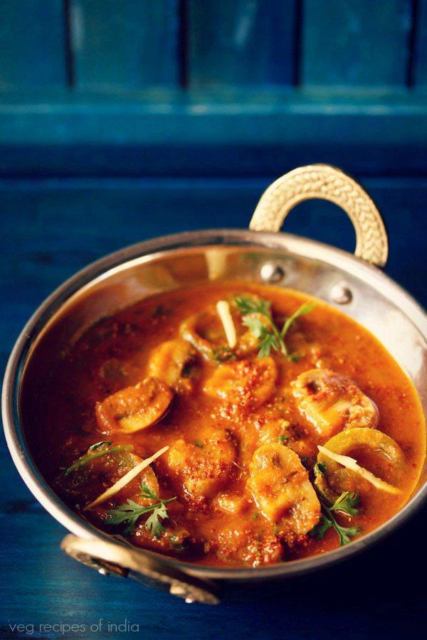kadai mushroom curry recipe, kadai mushroom recipe