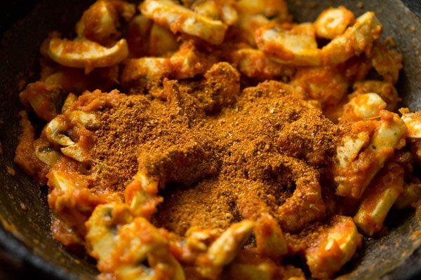 making kadai mushroom recipe