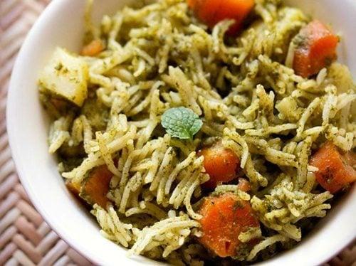 mix veg chutney pulao recipe