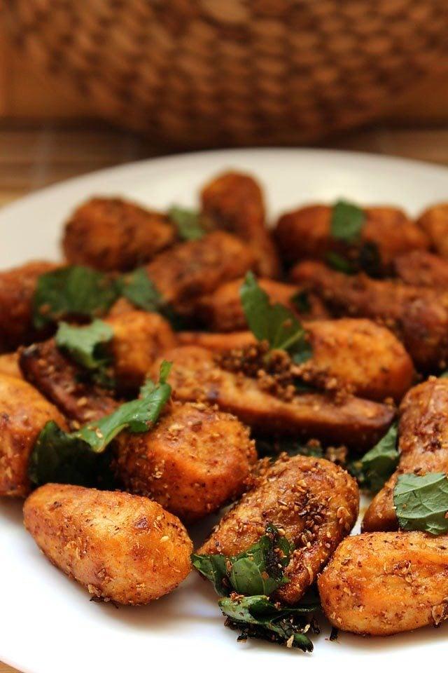 sukhi arbi recipe, how to make dry arbi recipe for fasting
