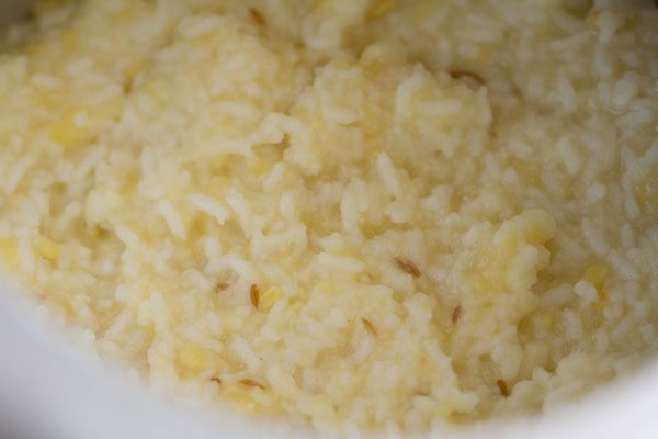 mushy cooked rice and lentils