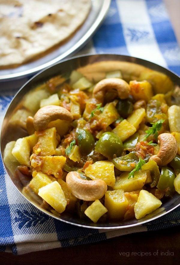 aloo capsicum curry recipe, potato capsicum recipe, aloo capsicum gravy recipe