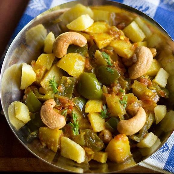 aloo capsicum curry recipe, potato capsicum recipe, aloo capsicum gravy