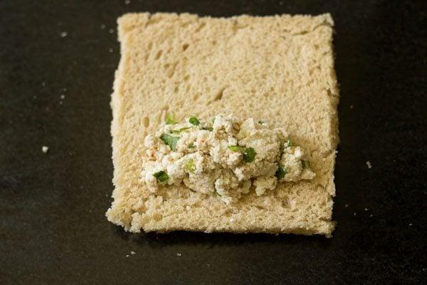 making bread paneer rolls recipe
