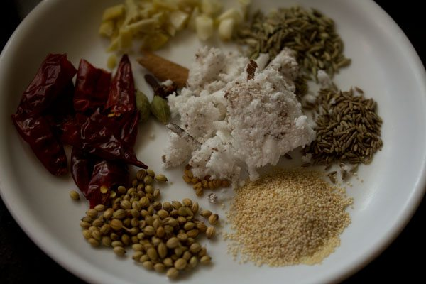 ingredients for the masala paste