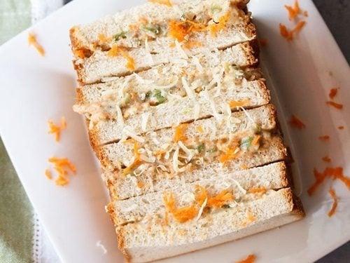 how to prepare veg sandwich in telugu