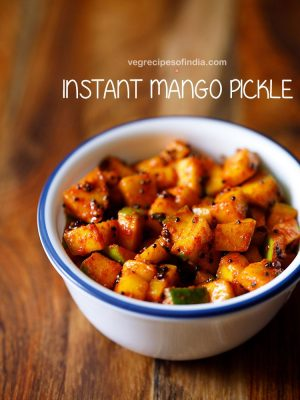 instant mango pickle, kerala mango pickle