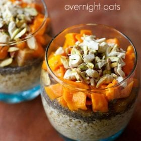 overnight oats served in glass