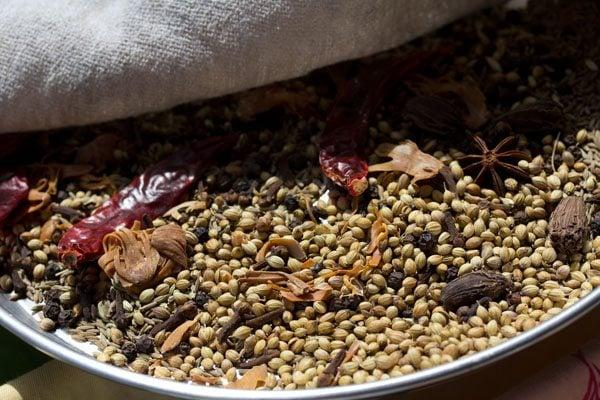 pav bhaji masala spices being sun dried