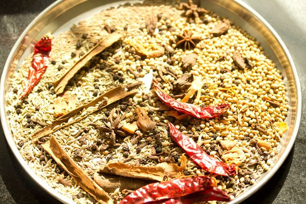 spices for pav bhaji masala being sun dried