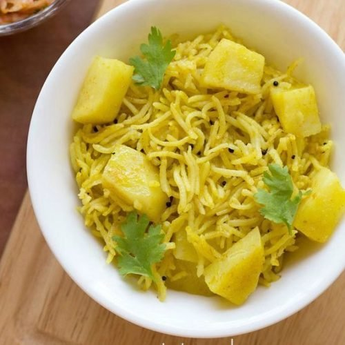 potato pulao recipe, potato rice recipe, aloo rice recipe