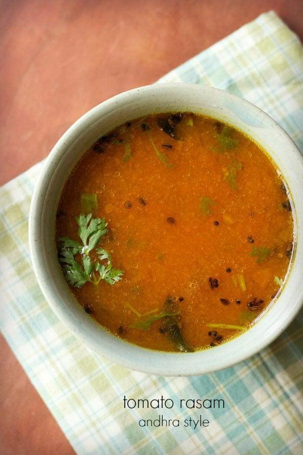 tomato rasam recipe, andhra style tomato charu | rasam recipes