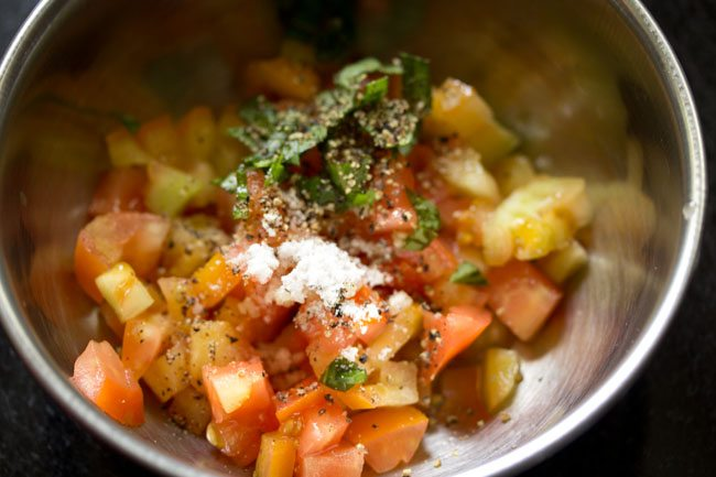 making tomato bruschetta recipe