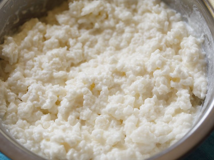 mixing rice with curd and milk