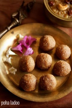poha ladoo recipe, how to make poha laddu recipe | ladoo recipes