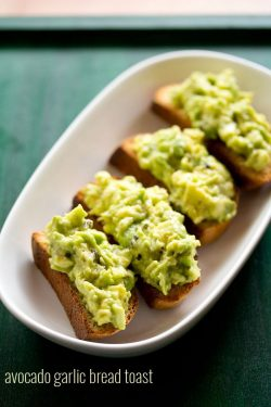 avocado garlic toast recipe, how to make avocado garlic bread toast recipe