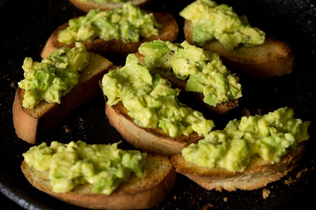 making avocado garlic toast