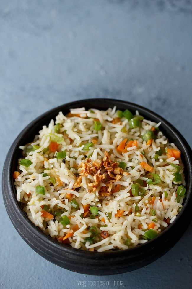 burnt garlic veg fried rice recipe