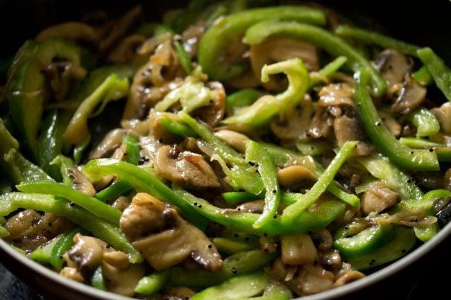 capsicum for preparing mushroom pepper fry recipe