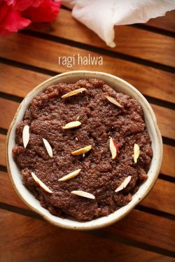 ragi halwa recipe, how to make ragi halwa recipe | nachni halwa recipe