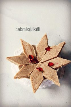 badam kaju katli recipe, how to make badam kaju barfi recipe