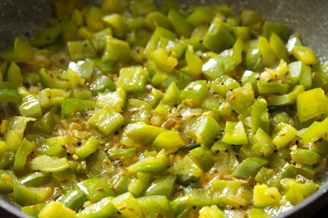 making capsicum besan sabzi recipe