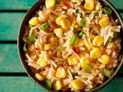 corn schezwan fried rice recipe