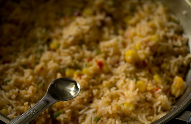 vinegar for preparing corn schezwan fried rice recipe