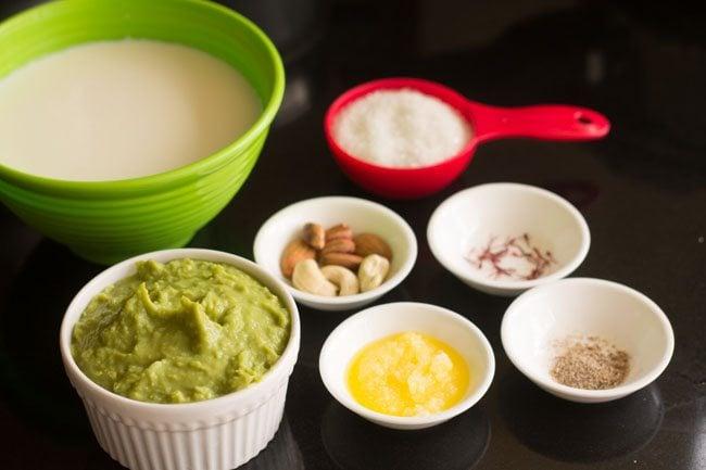 ingredients for matar kheer recipe