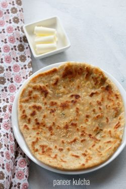 paneer kulcha recipe, how to make paneer kulcha recipe on tawa