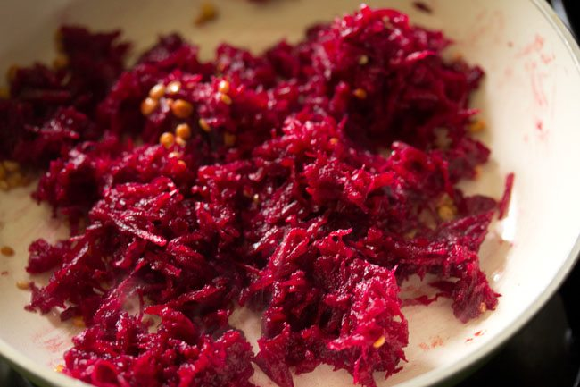 added grated beetroot in the pan