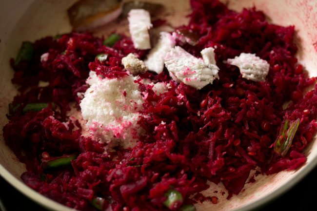 added coconut for preparing beetroot chutney recipe