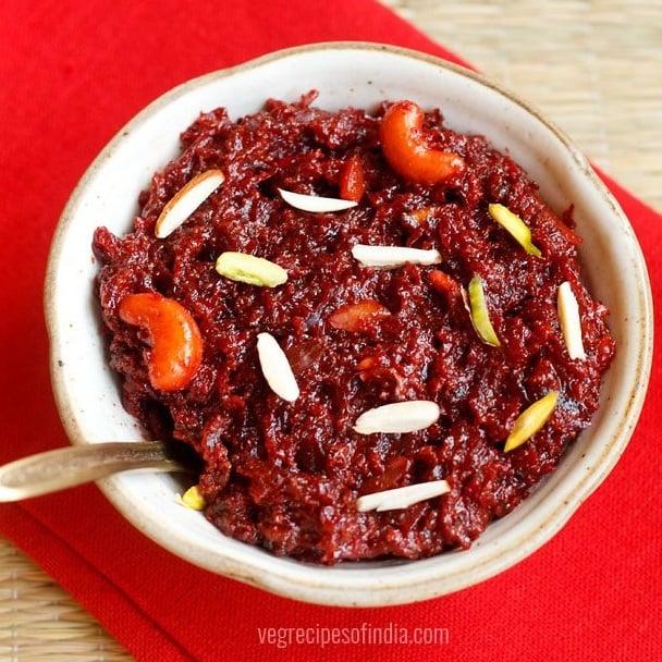 beetroot halwa recipe with mawa