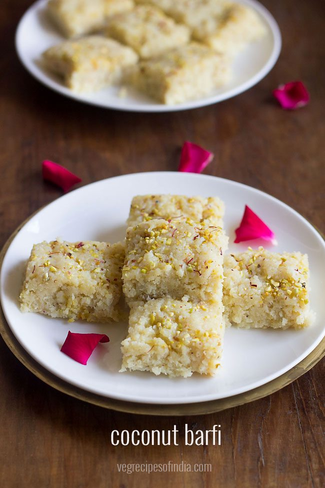 nariyal barfi recipe, coconut barfi recipe