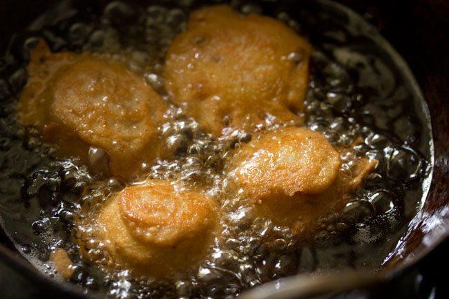 frying vada - farali potato bonda recipe