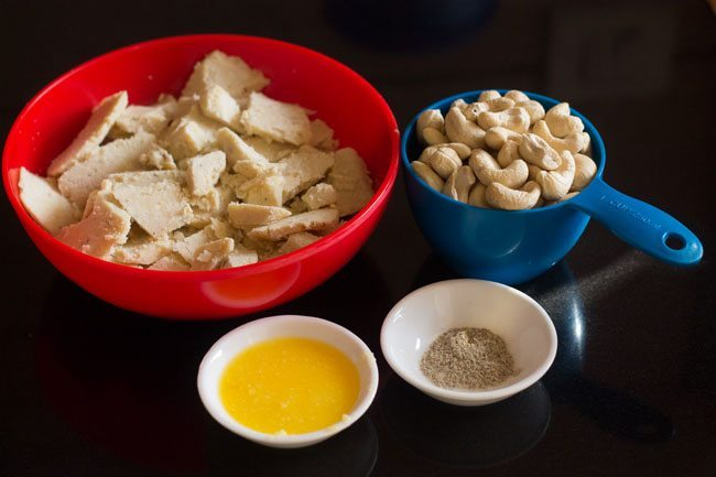 ingredients for kaju barfi recipe