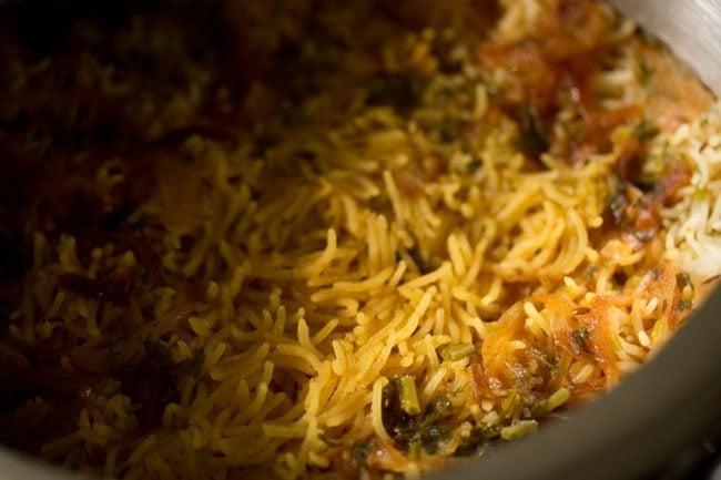 cooked paneer biryani recipe in pressure cooker