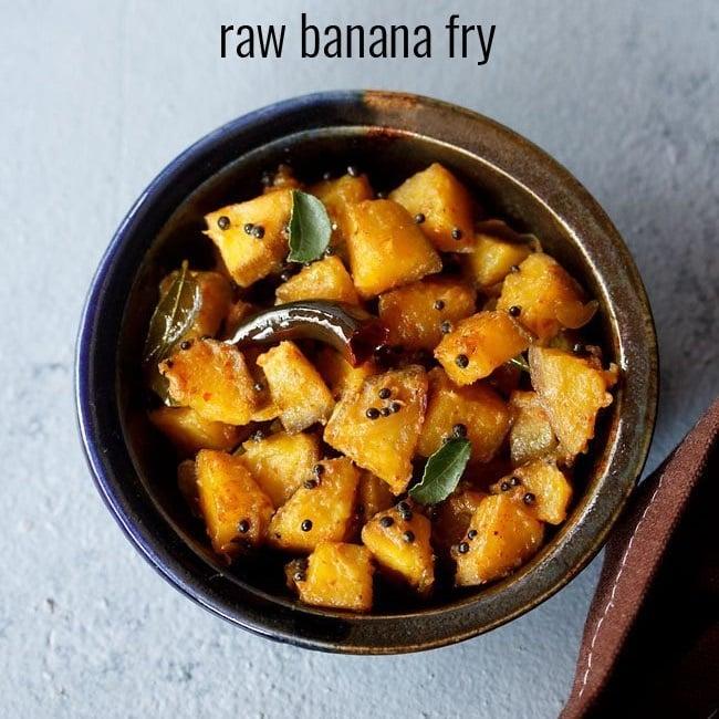 raw banana fry recipe, kerala banana fry recipe, plantain fry recipe