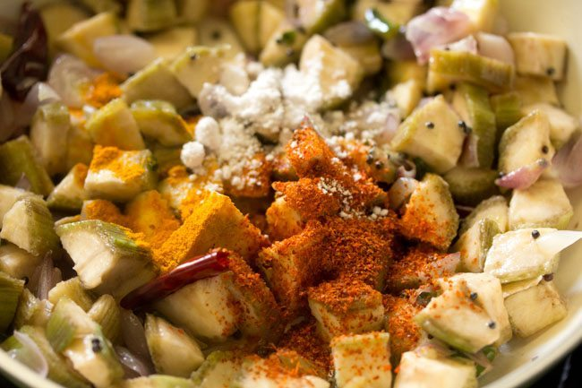 spices for making raw banana stir fry recipe