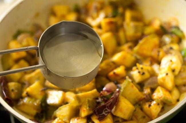 making raw banana stir fry recipe