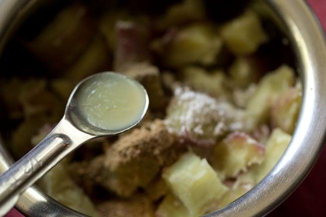 making sweet potato chaat recipe