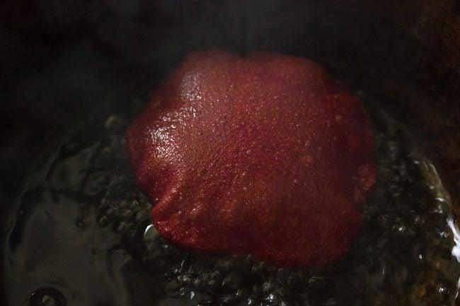 frying beetroot poori - preparing beetroot poori recipe