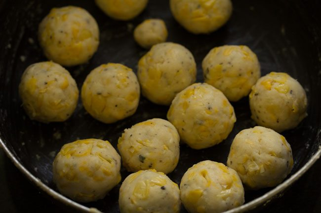 preparing cheese corn balls recipe