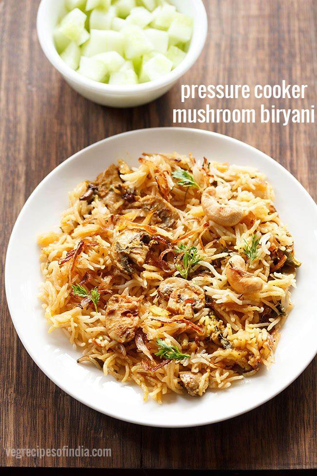 pressure cooker mushroom biryani recipe
