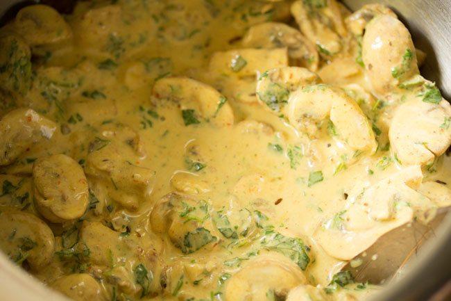 layering biryani - making mushroom biryani in pressure cooker
