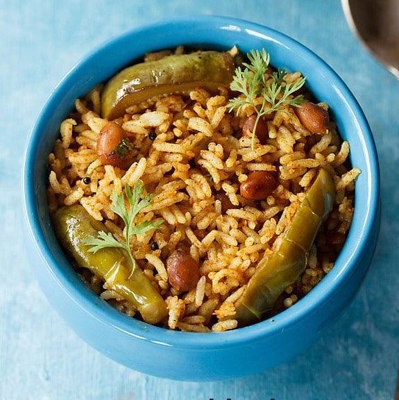 vangi bath recipe, karnataka style vangi bhath recipe, brinjal rice recipe