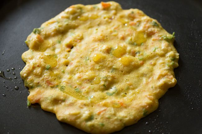 preparing cheela for veg club sandwich recipe